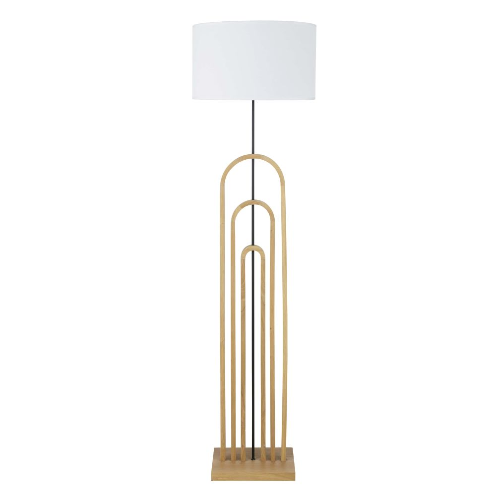Vintage Staande Lamp Uit Eikenhout Met Witte Lampenkap H140