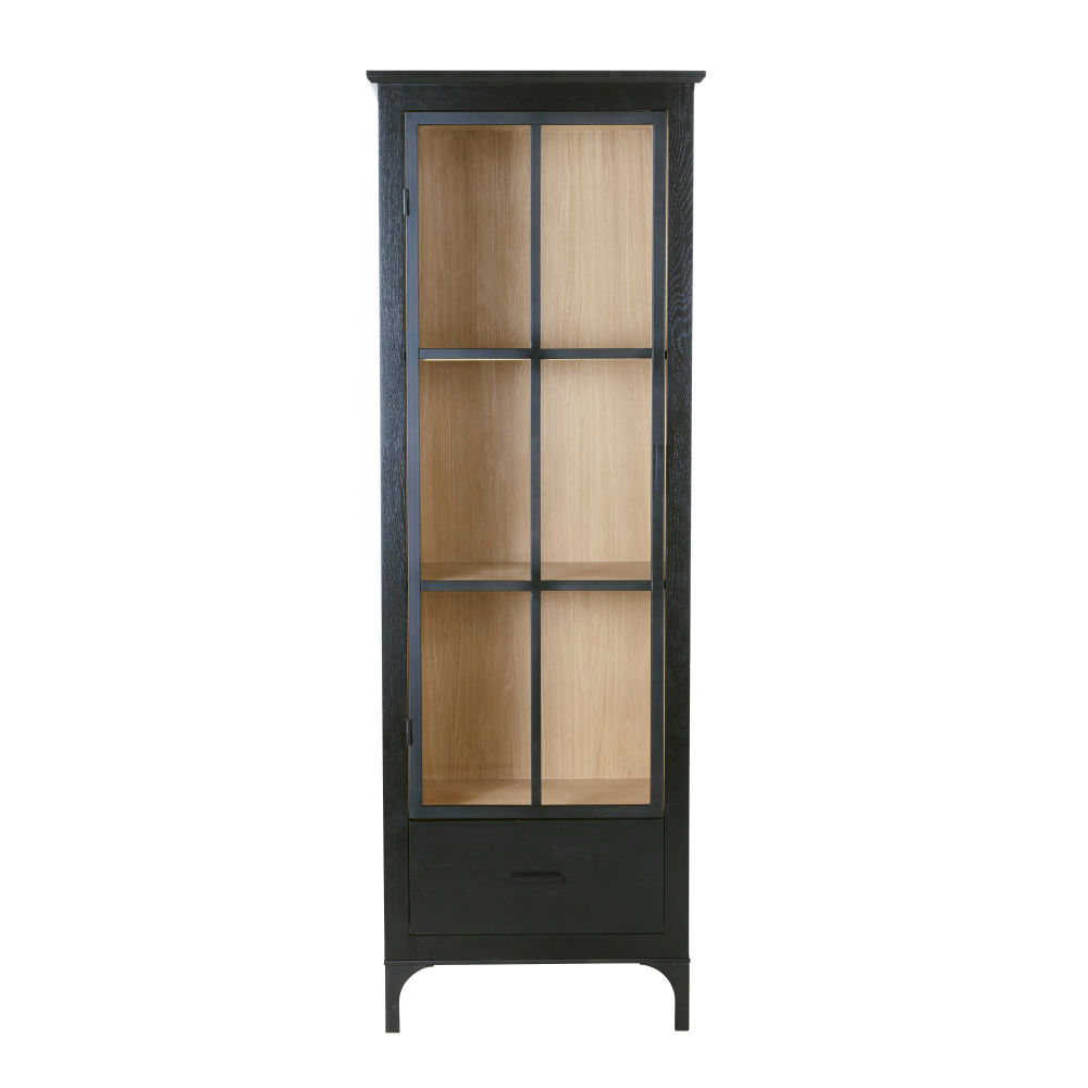 Vitrine 1 porte noire et verre trempé