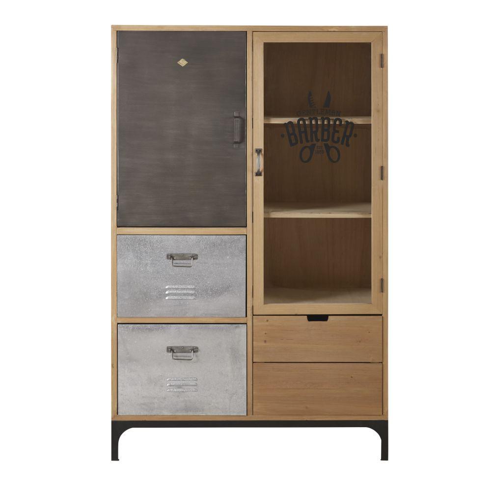 Vitrine 2 portes 3 tiroirs en sapin massif, verre et métal