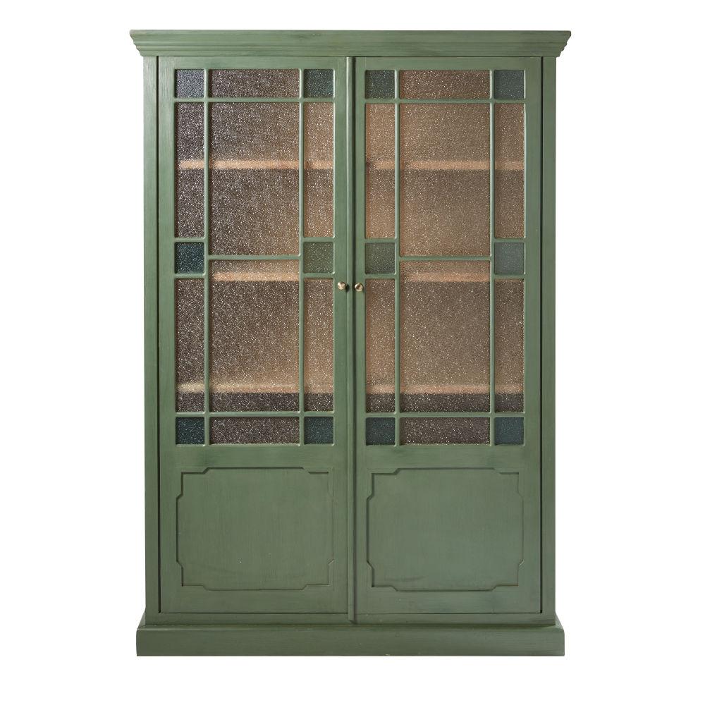 Vitrine 2 portes en acacia massif vert et verre granité