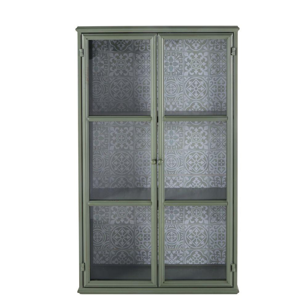 Vitrine 2 portes en métal vert clair