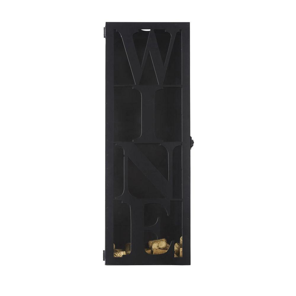 Wanddecoratie Uit Zwart Metaal En Glas Met Kurkenprint 22 X 60 Cm