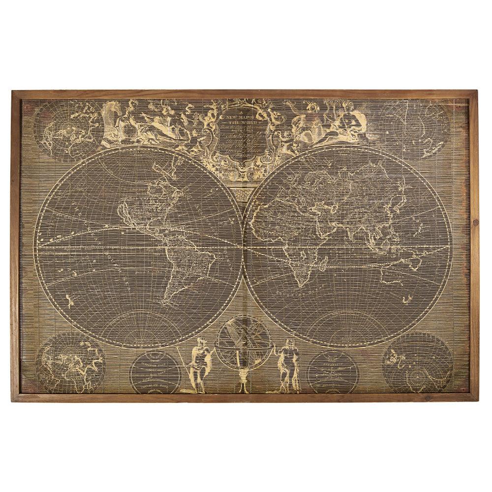 Wanddecoratie Van Dennenhout En Bamboe Met Wereldkaartprint 140 X 93 Cm