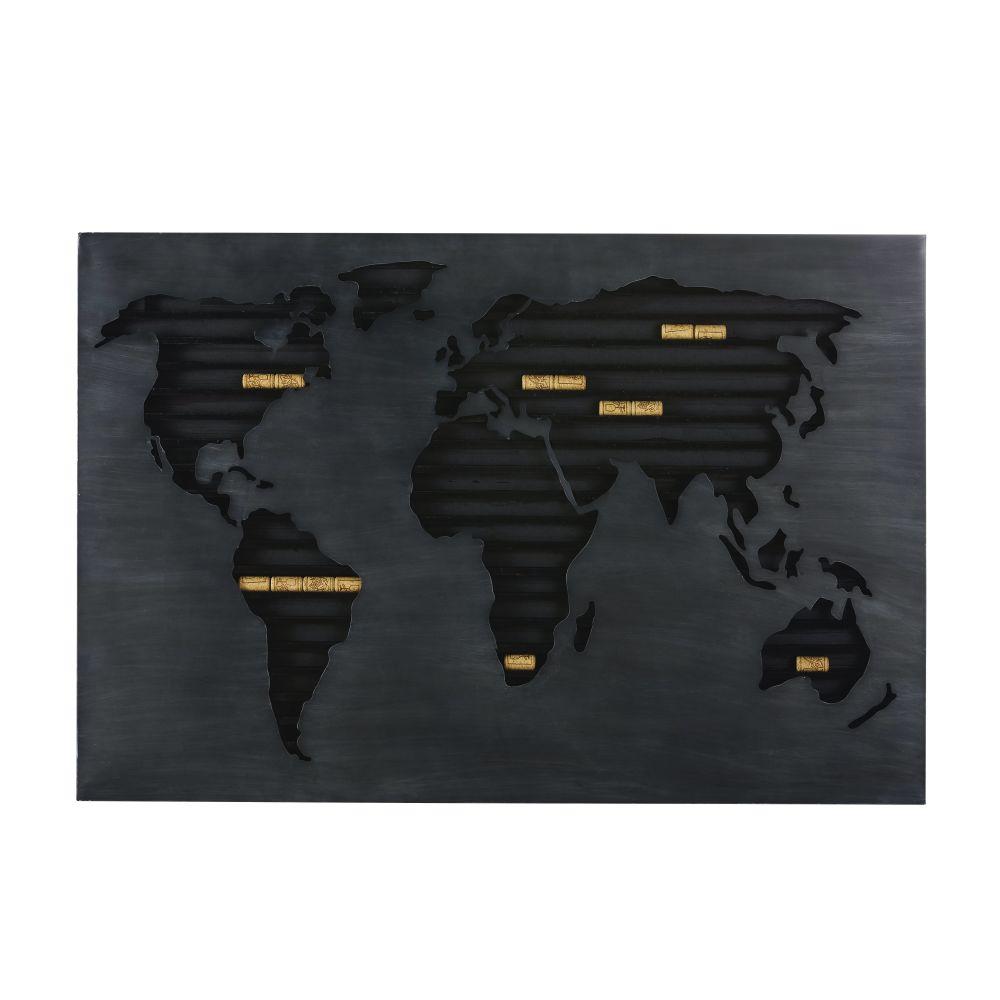 Wanddecoratie Van Zwarte Metalen Kurkenhouder Met Wereldkaart