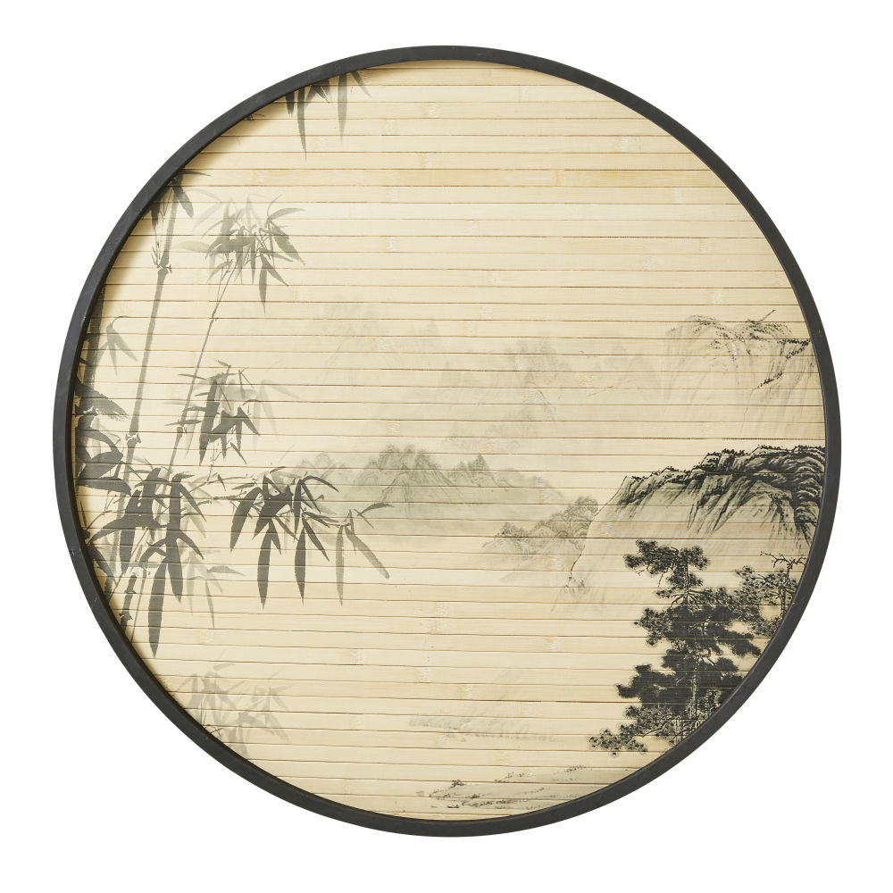 Wanddeko, rund aus bedruckten Bambusleisten D80