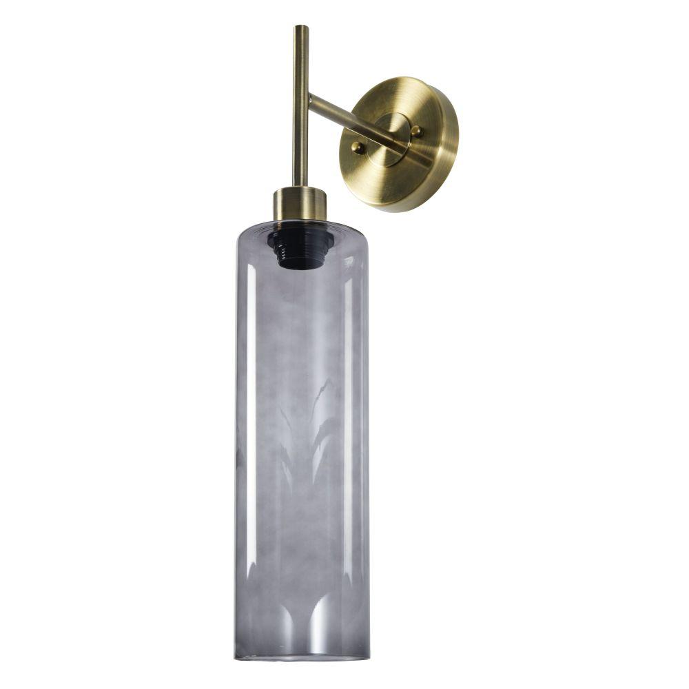 Wandlamp Van Verguld Metaal En Rookglas