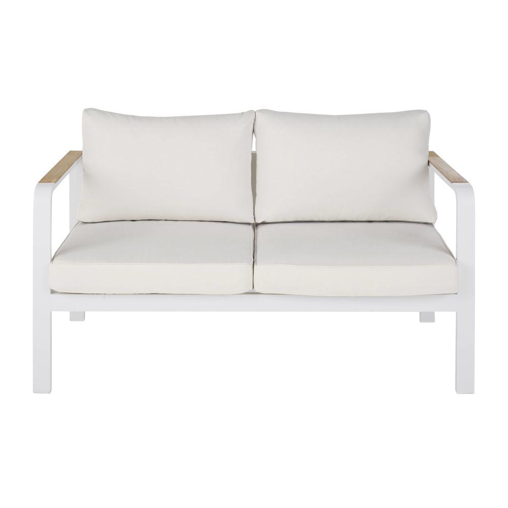 Witte Aluminium Tuinzetel Met 2 Zitplaatsen En Ecru Kussens Voor Professioneel Gebruik