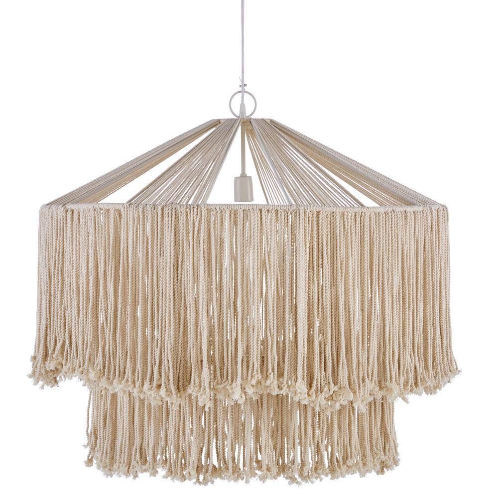 Witte Metalen Hanglamp Met Jute Koorden