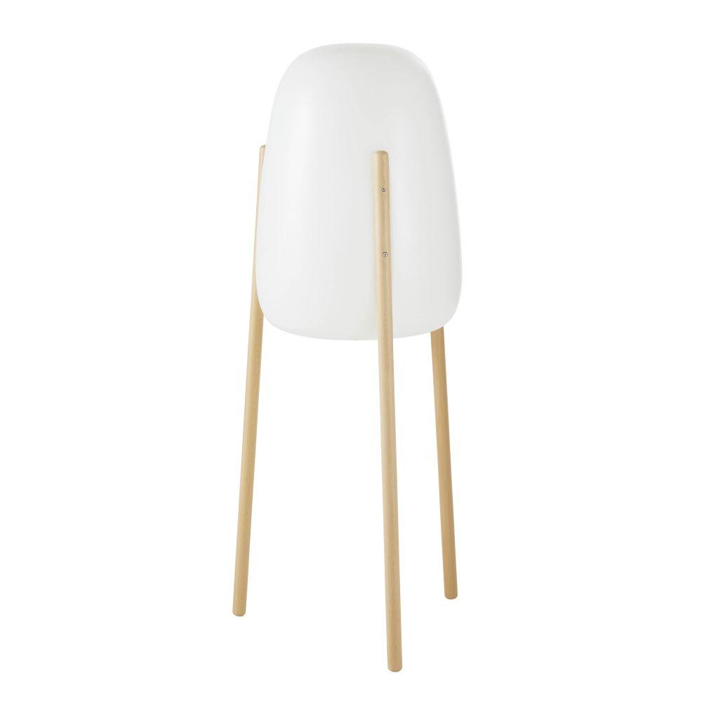 Witte Nomadische Staande Lamp Met Beukenhouten Poten H145