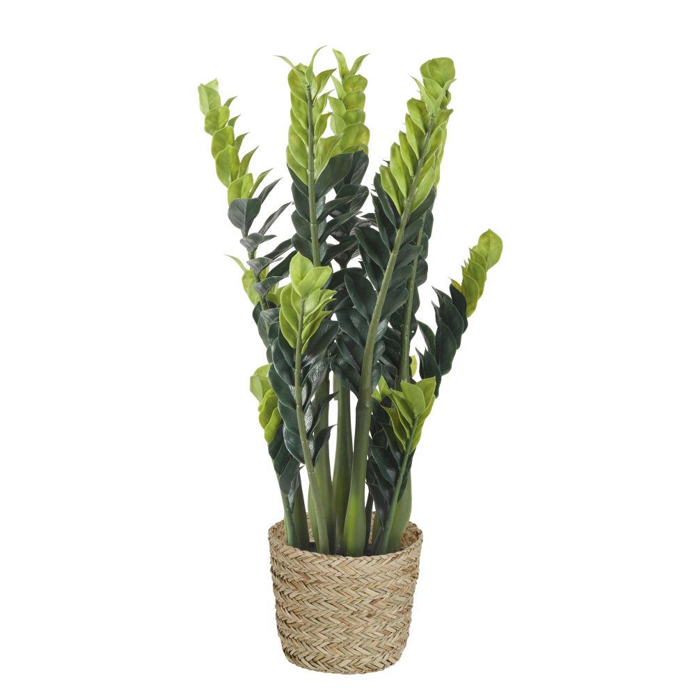 Zamioculcas artificiel et pot en fibre végétale 9x20