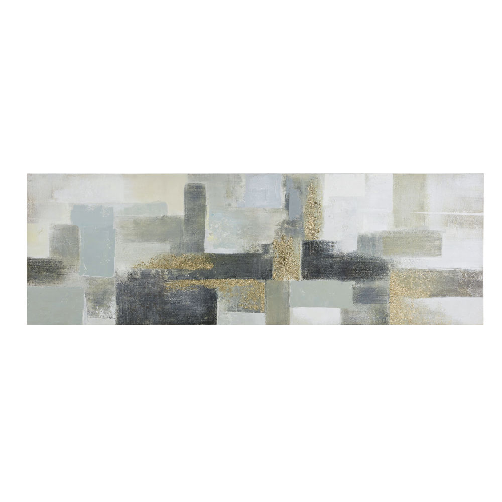 Zwart En Grijs Geschilderd Canvas 150 X 50 Cm