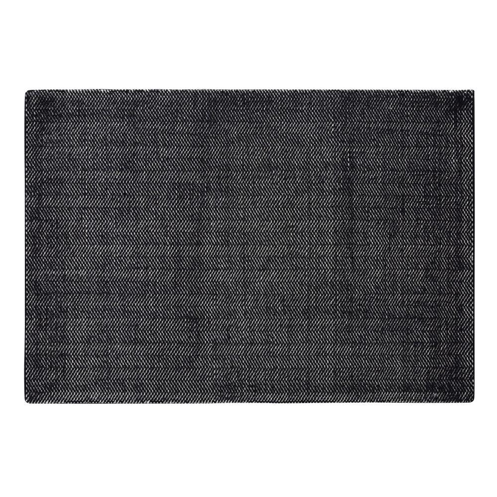 Zwart En Wit Geweven Wollen Tapijt 140 X 200 Cm