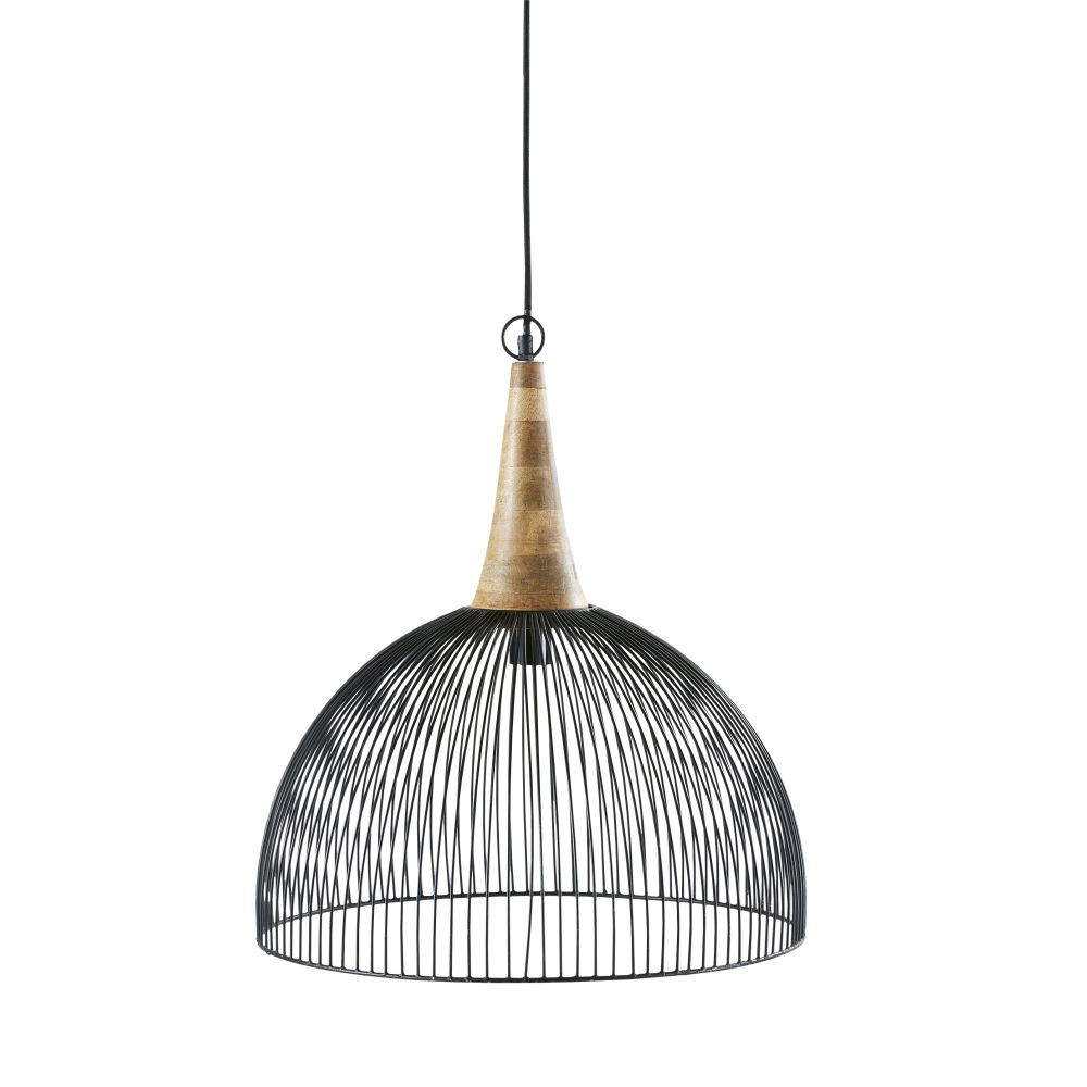Zwarte Draadhanglamp Met Mangohout