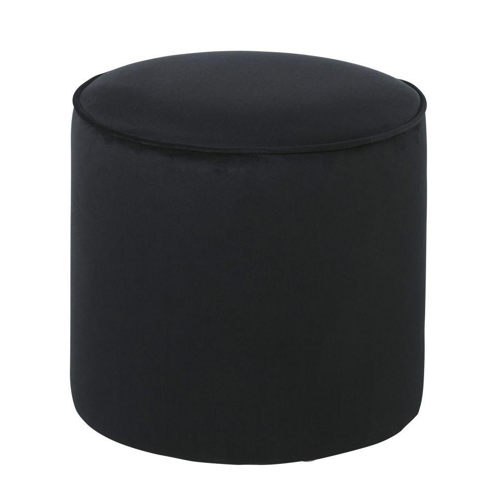Zwarte Fluwelen Poef Voor Professioneel Gebruik