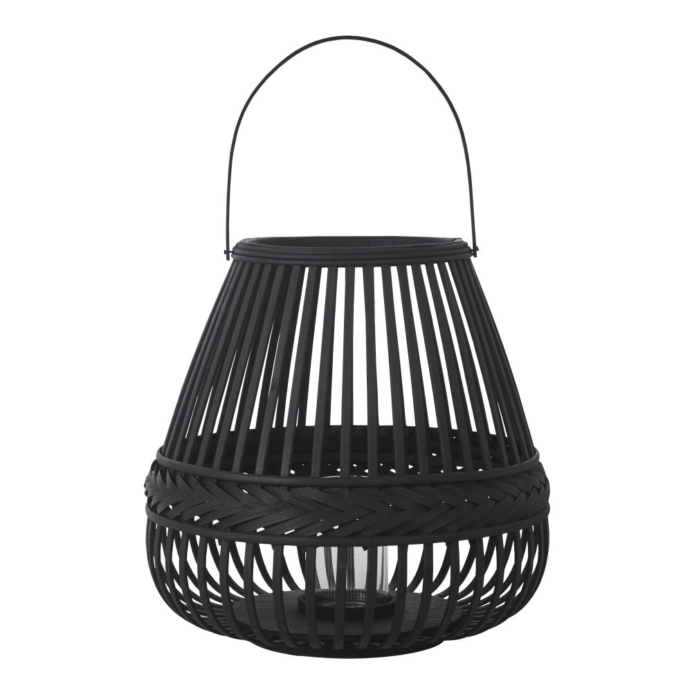 Zwarte Lantaarn Van Gevlochten Bamboe