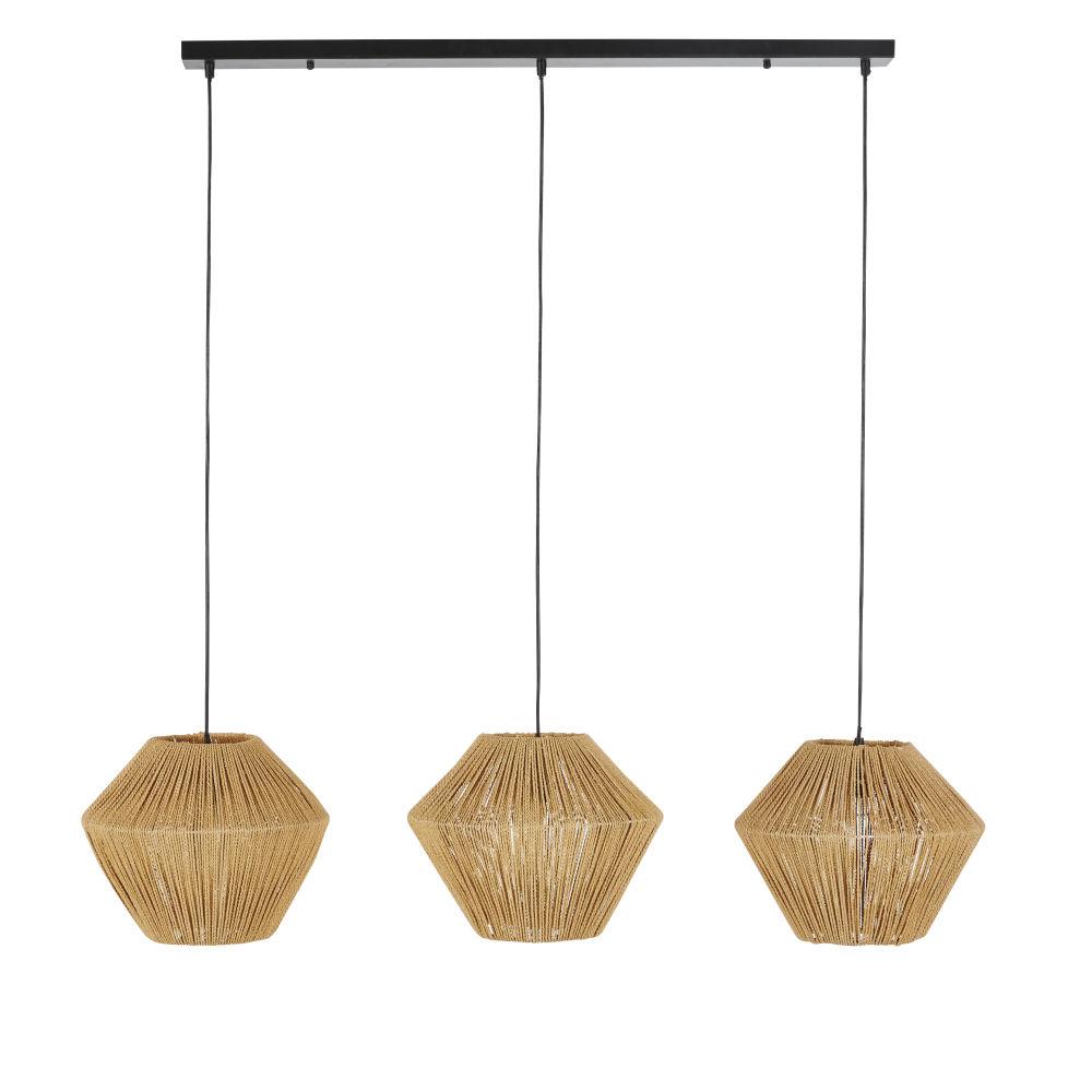 Zwarte Metalen Hanglamp Met 3 Lampenkappen Van Gevlochten Touw
