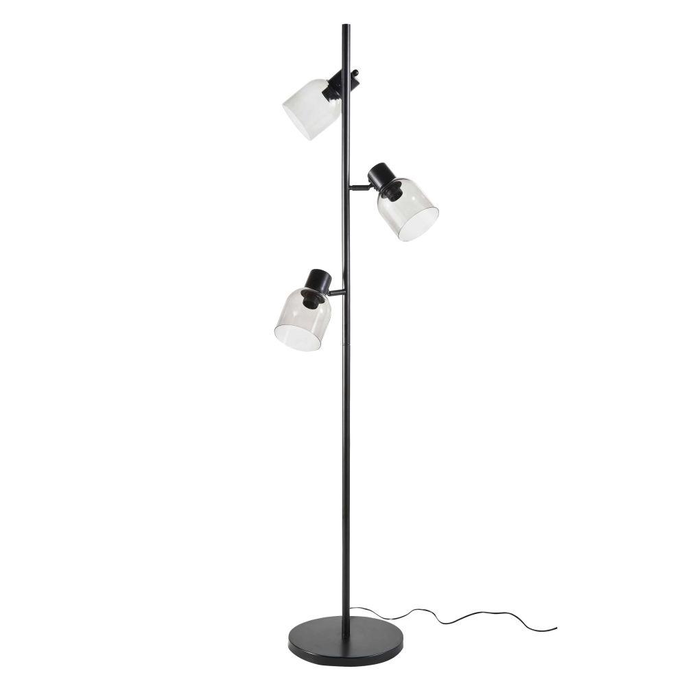 Zwarte Metalen Vloerlamp Met 3 Lampenkappen Van Rookglas H162
