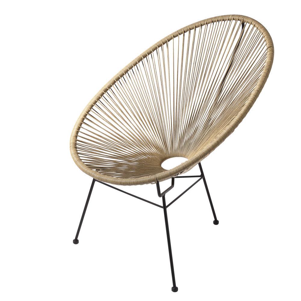 fauteuil de jardin rond en r sine imitation rotin. Black Bedroom Furniture Sets. Home Design Ideas