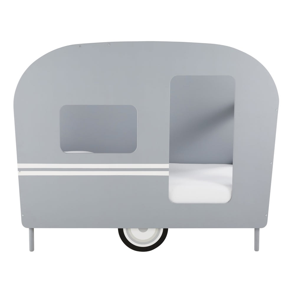 Monde Maisons Gris Caravane 90x190 Lit Enfant Du Bolide Petit wFHqxU8z