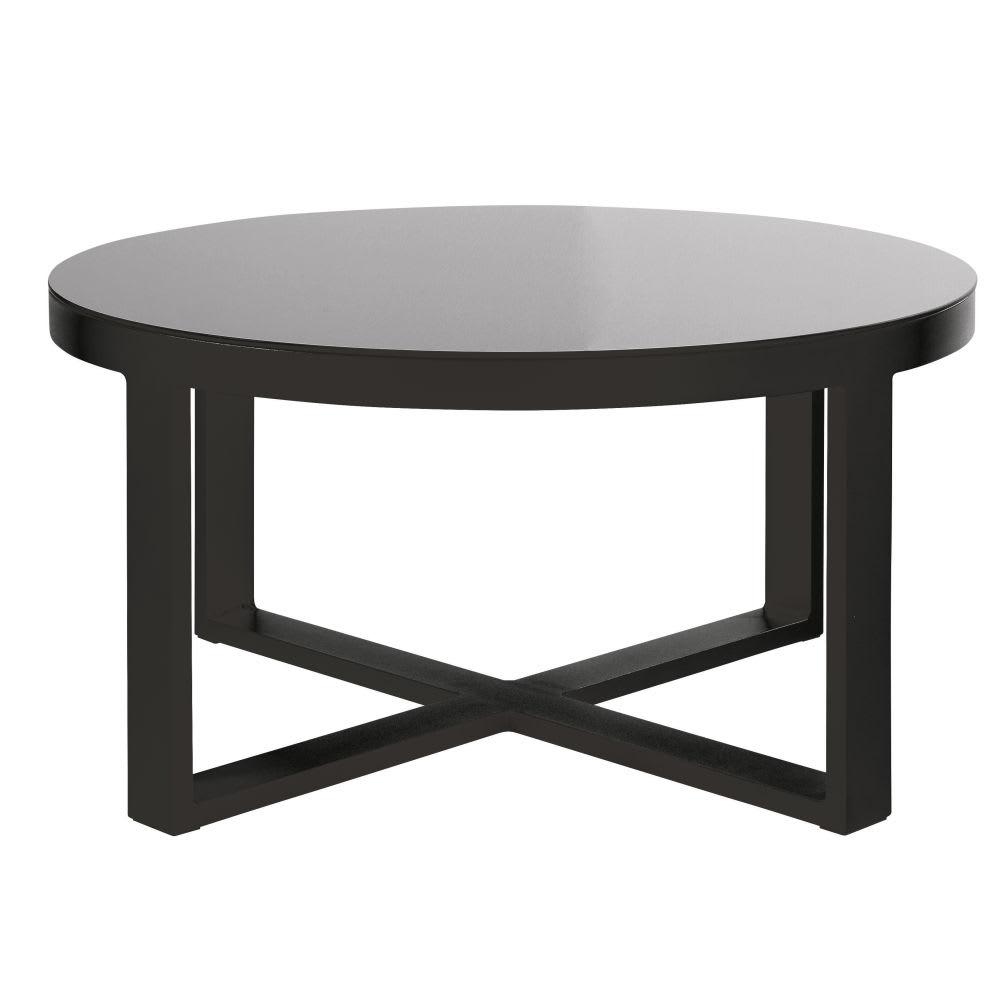 Thetis De Verre Table Basse En Et Noir Trempé Jardin Aluminium Ronde ...