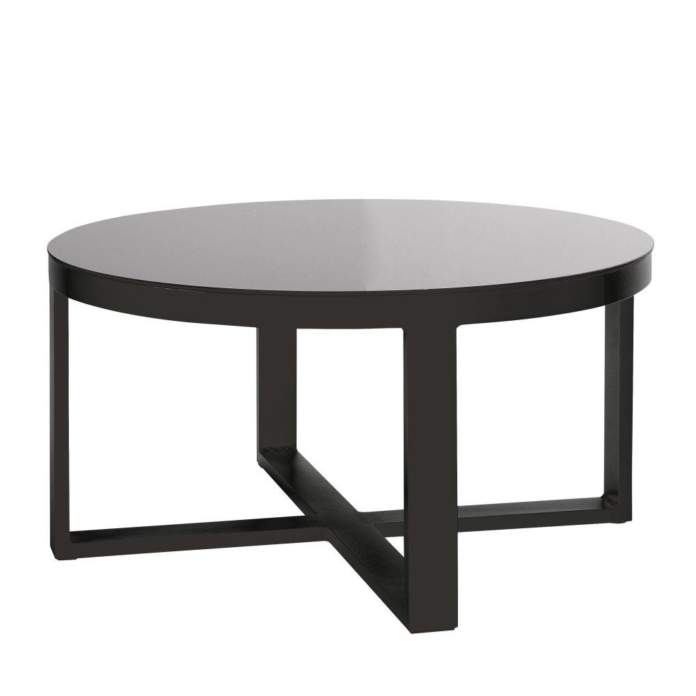 Thetis Aluminium Table Ronde Et Jardin Verre Basse De Trempé ...