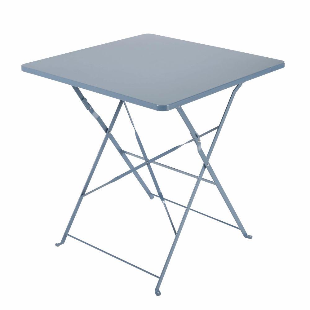 Métal Bleu L70 Pliante En De Table 2 Gris Personnes Jardin nm0Nwv8O