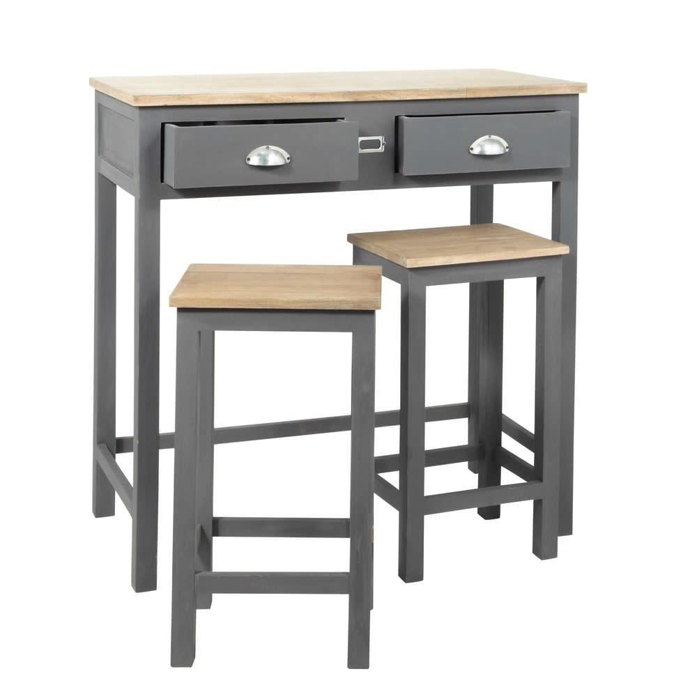 Table haute avec 2 tabourets en ch ne et pin gris chablis - Table haute avec tabouret pour cuisine ...