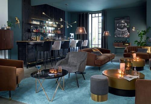 De Chaise En Vintage H110 Bar Professionnelle Noir Velours TclFJK1