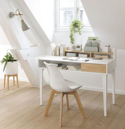 Blanche Et Chêne Scandinave Style Chaise Massif UjVLqSpzMG