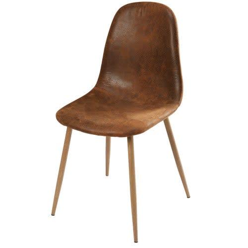Chaise Scandinave Style En Marron Microsuède Vieilli I6ybf7Ygv