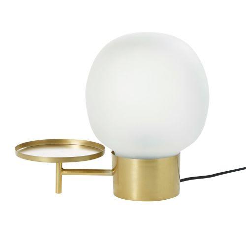 Et Métal En 0nwovmny8 Doré Tablette Lampe Avec Blanc Verre dshrCxtQB