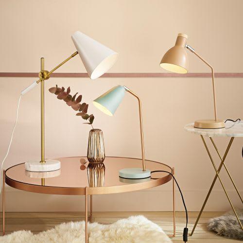 De Métal Bureau En Poudré Rose Lampe cAjSRq3L45