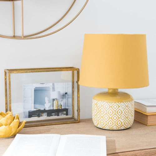 Jaune Blancs En Lampe Céramique Motifs Nn80wvm