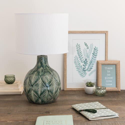 Jour En Abat Verte Lampe Coton Blanc Céramique bgYf7yv6