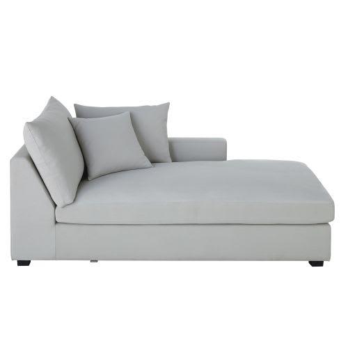 Cotton Longue Chaise Right Hand Light Grey zGqpMVSU