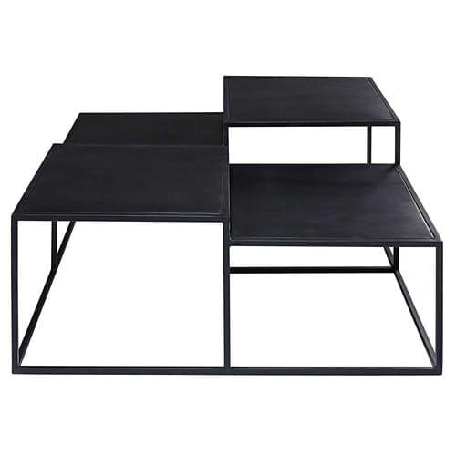 Métal Table Plateaux Noir En Basse 4 YHIWED29