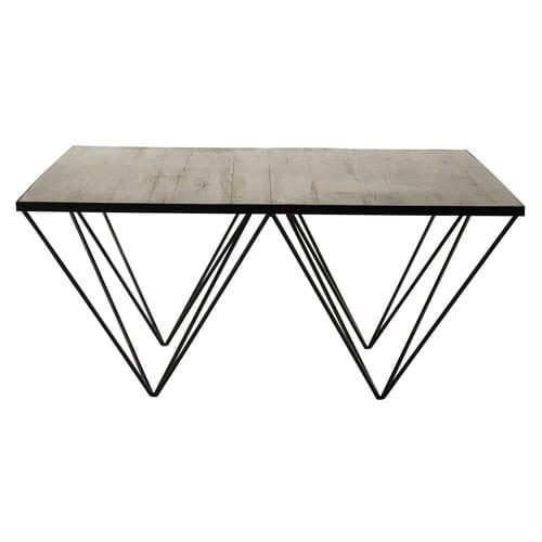 Recyclé Table Métal Et Carrée En Basse Pin 54ScAjL3Rq