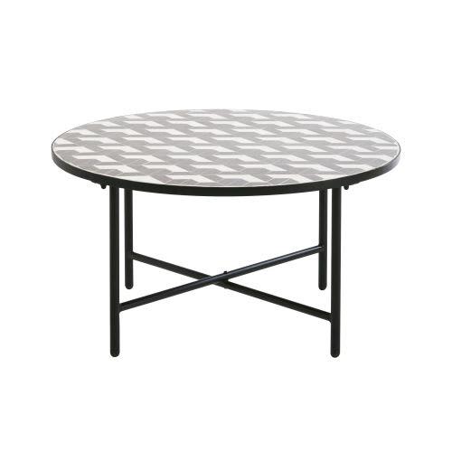 Basse Ronde Et Jardin De Grise Céramique Blanche Table En I29WHDE