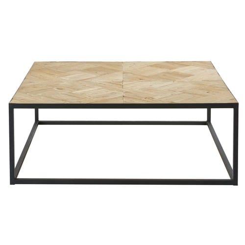 Basse Marquetée Métal Recyclé Et Noir Orme Table En rCedxoWB