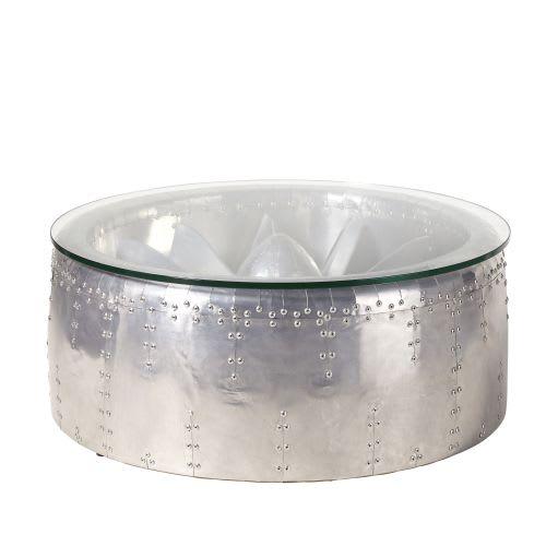 Ronde Indus Table Basse En Verre Aluminium Et 5Aj43LcRq