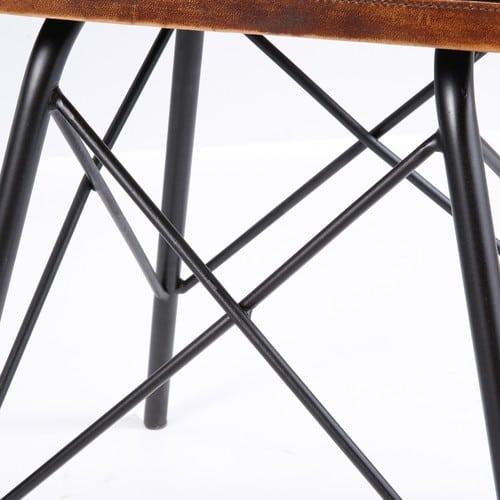 Noir Chevet Table Métal Cuir Tiroir Marron De Et 1 En pSMVUz