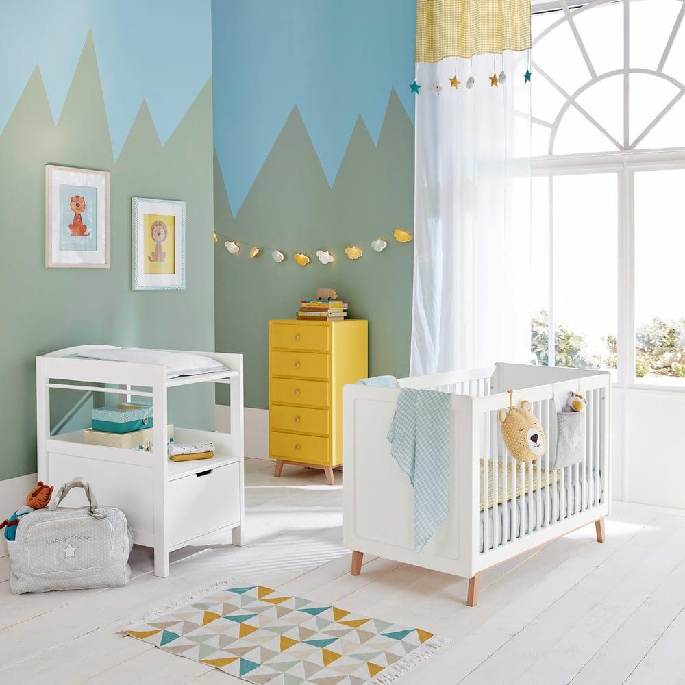 Couverture bébé en coton jaune/gris 75 x 100 cm Gaston | Maisons du ...