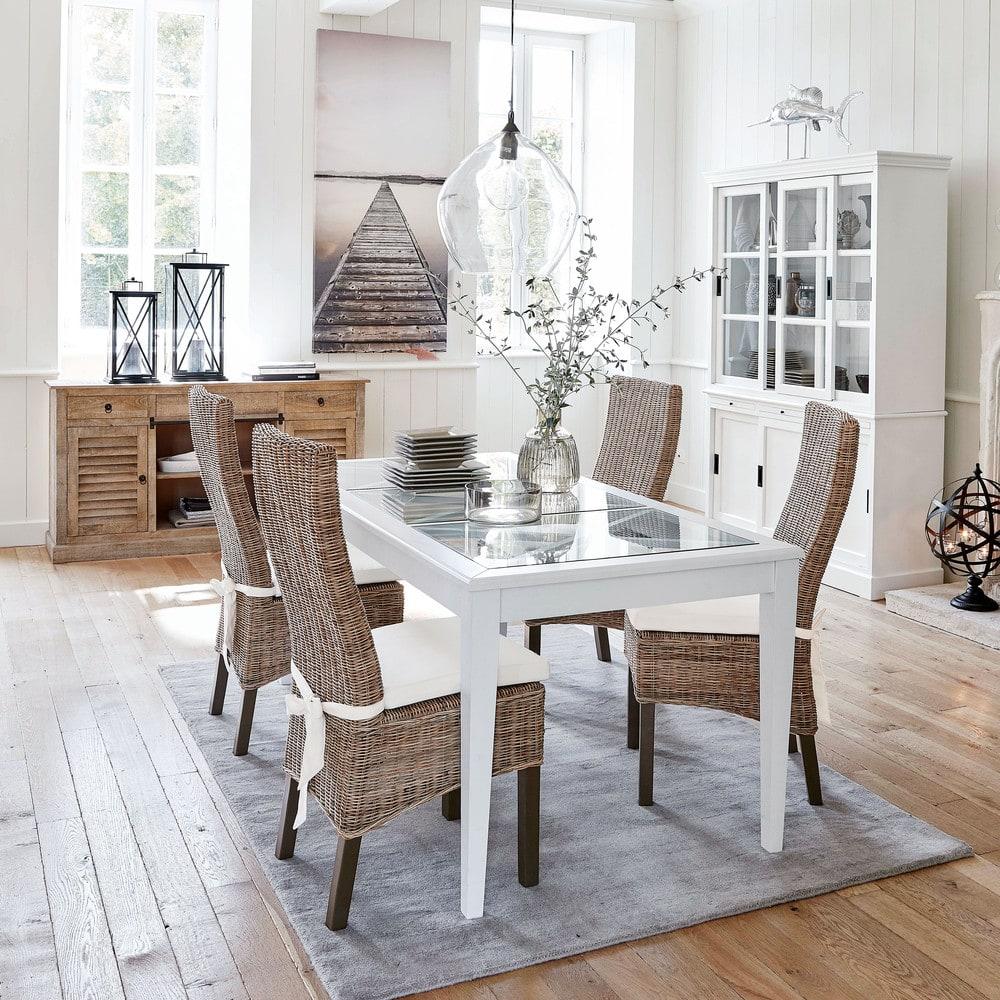 Mesa de comedor de pino blanco y vidrio templado para 8 personas L ...
