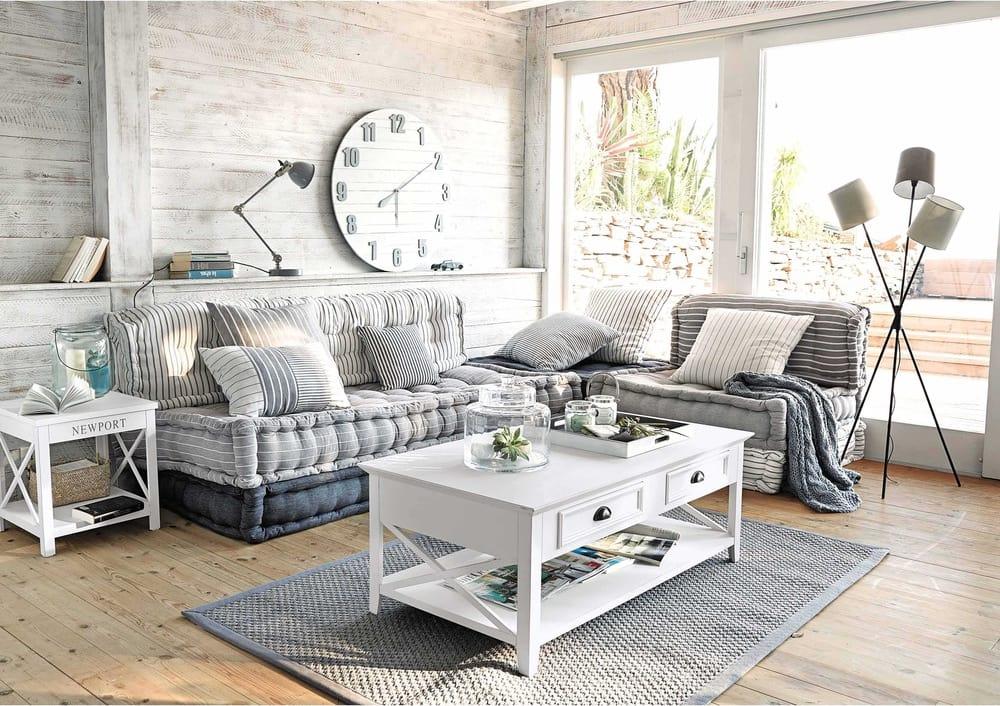 Table basse en pin blanc l 120 cm newport maisons du monde