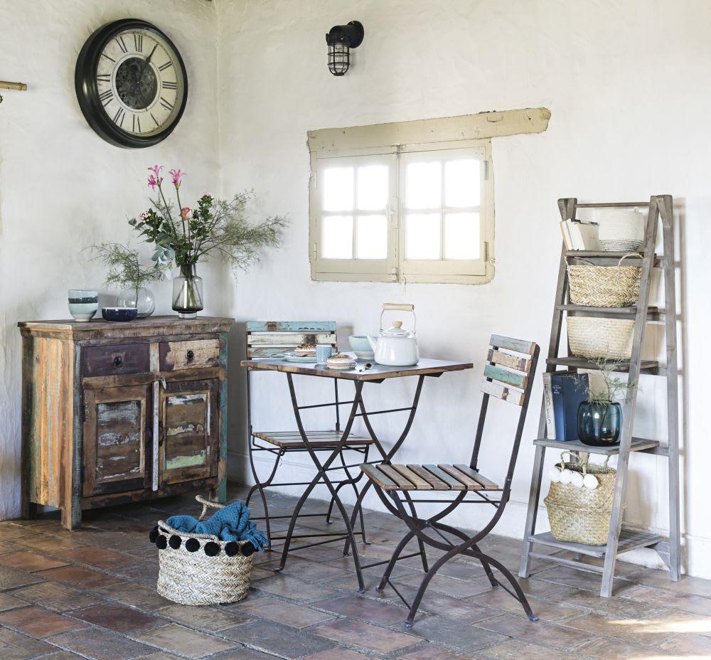 Table + 2 chaises de jardin en bois recyclé et métal effet vieilli L ...