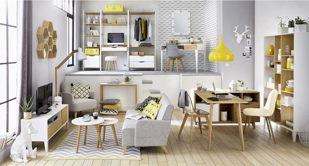Coussin en coton blanc imprimé jaune et noir cm jungle