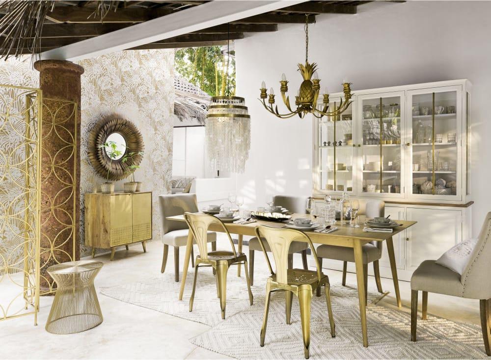Credenza Con Scaffalature Per Esporre Stoviglie : Credenza a ante in legno massello di mango e ottone stella