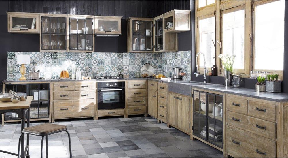 Küchenunterschrank aus recyceltem Kiefernholz für Backofen, B 64 ...