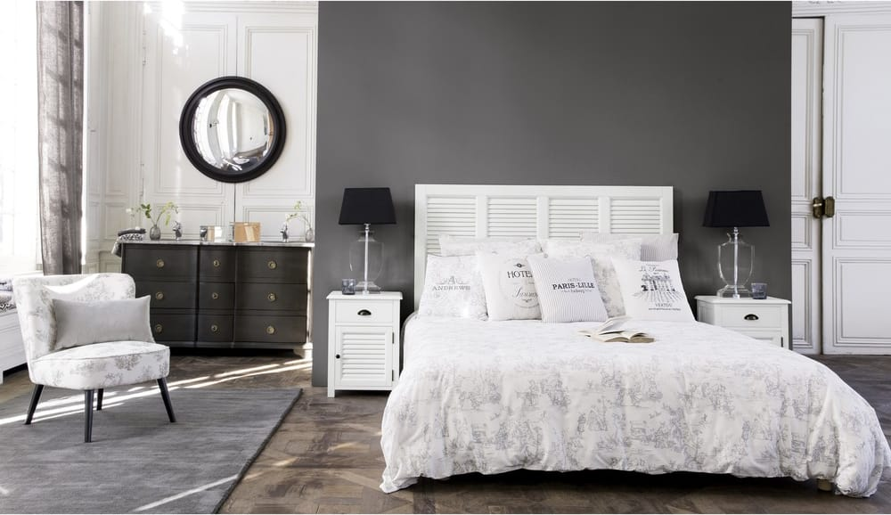 Tête de lit en bois blanche l cm barbade maisons du monde