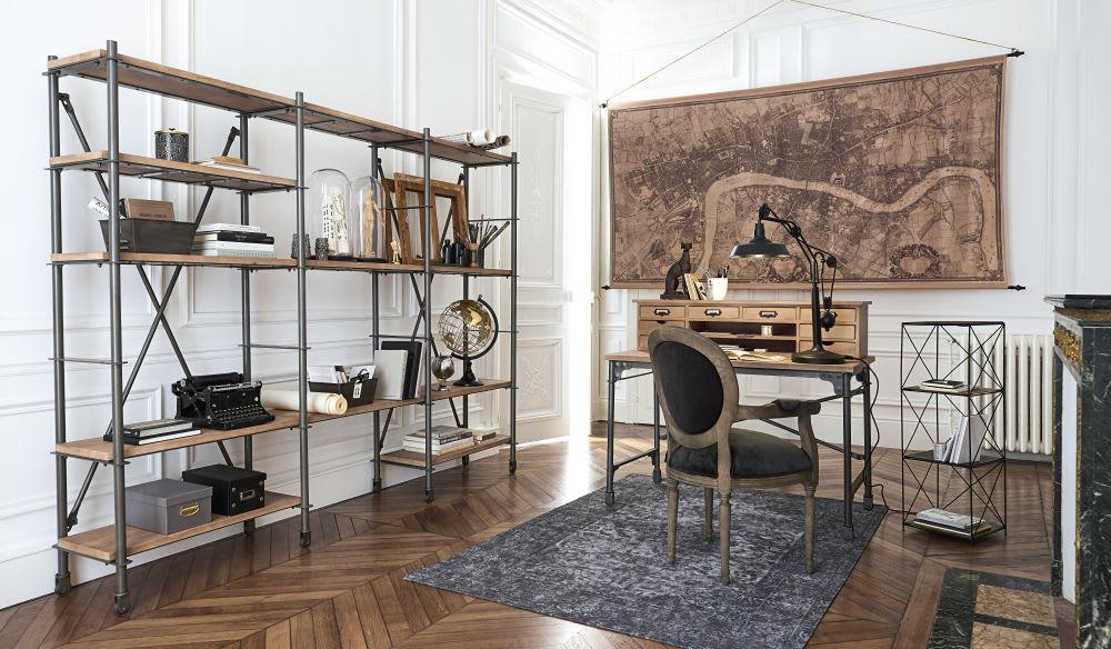 Bureau secrétaire en manguier massif et métal l cm archibald